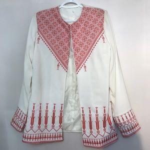 All White Vintage Summery Red Aztec Print Blazer